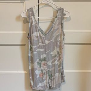 Maurices 24/7 grey floral camo tank